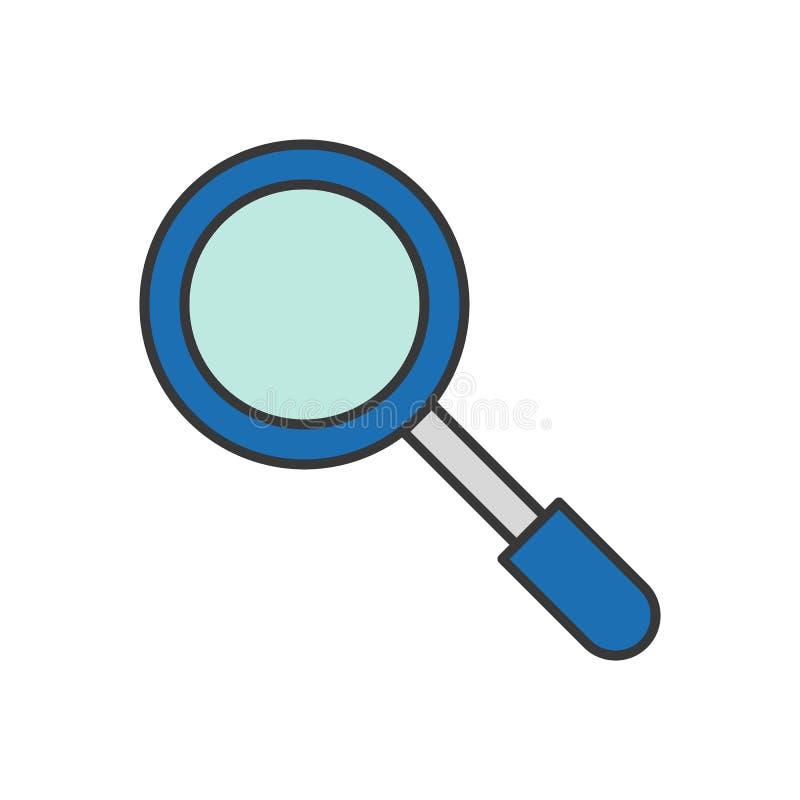 Magnifique el vidrio, icono relacionado de la policía, movimiento editable del esquema stock de ilustración