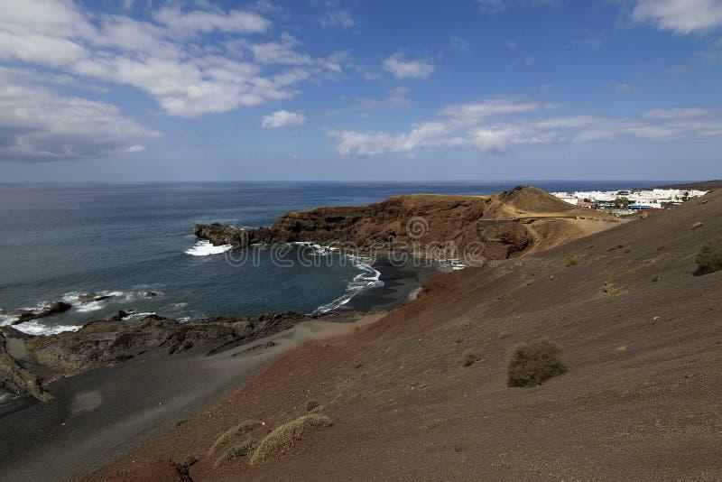 Magnifique paysage de la plage de los golfos, à Lanzarote photographie stock
