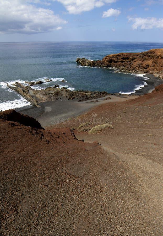 Magnifique paysage de la plage de los golfos, à Lanzarote image stock