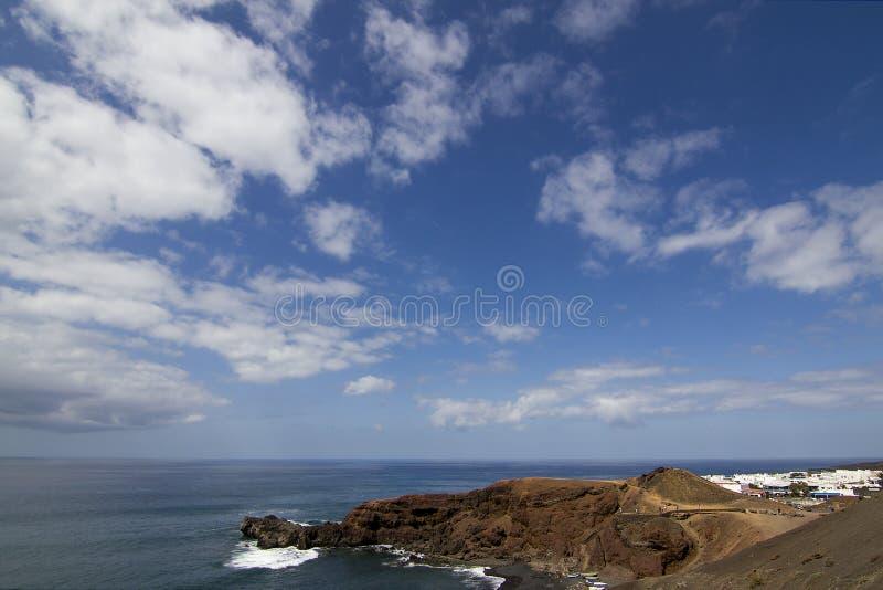 Magnifique paysage de la plage de los golfos, à Lanzarote images libres de droits