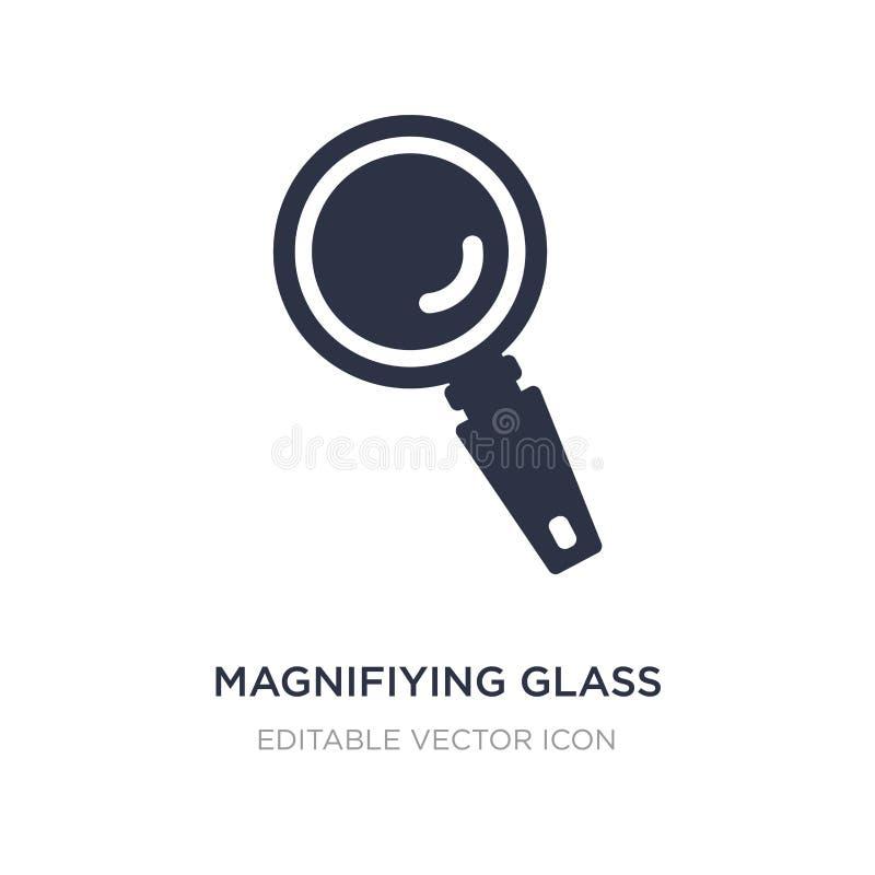 magnifiying Glasikone auf weißem Hintergrund Einfache Elementillustration vom allgemeinen Konzept vektor abbildung