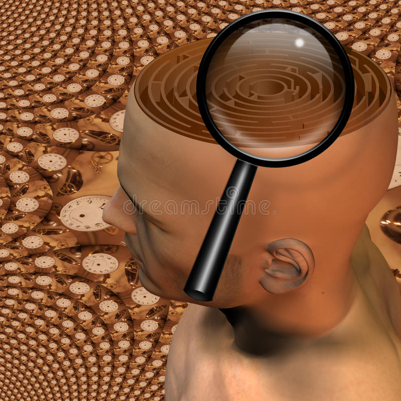 Magnify. High Resolution 3D Illustration Magnify glass and maze in mans head stock illustration