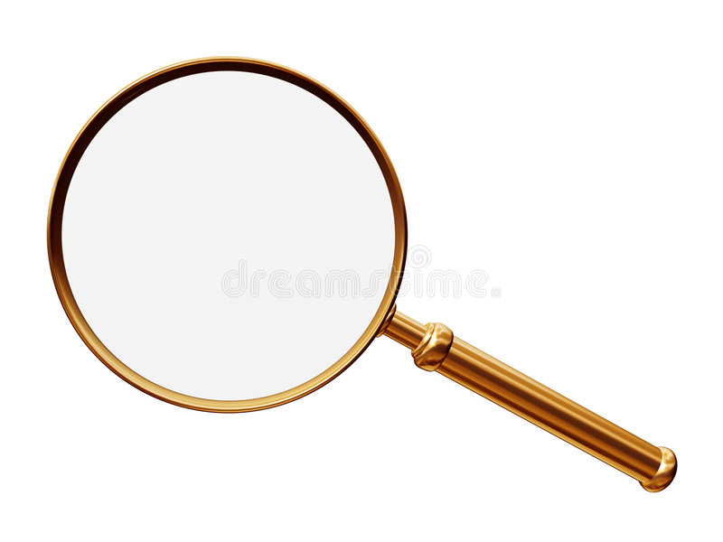 Magnify. Golden magnify isolated on white royalty free illustration
