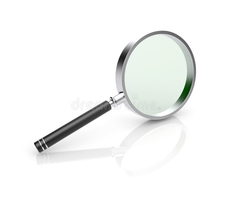 Magnify glass. 3d icon. Magnify glass isolated on white royalty free illustration
