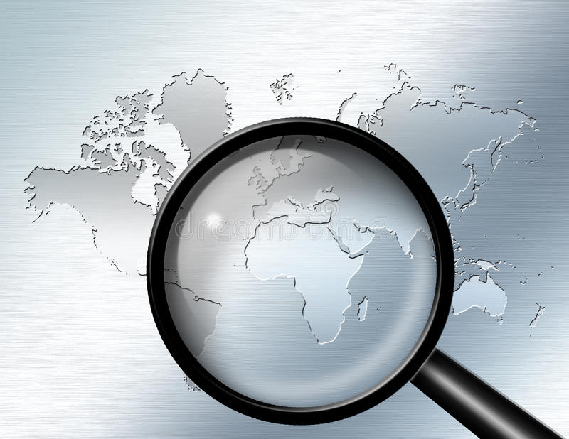 Magnify Glass Africa. Magnify Glass focus on Africa royalty free illustration