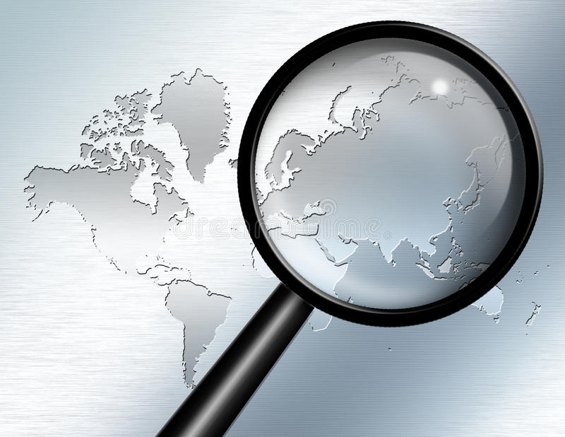 Magnify Glass Asia. Magnify Glass focus on Asia royalty free illustration