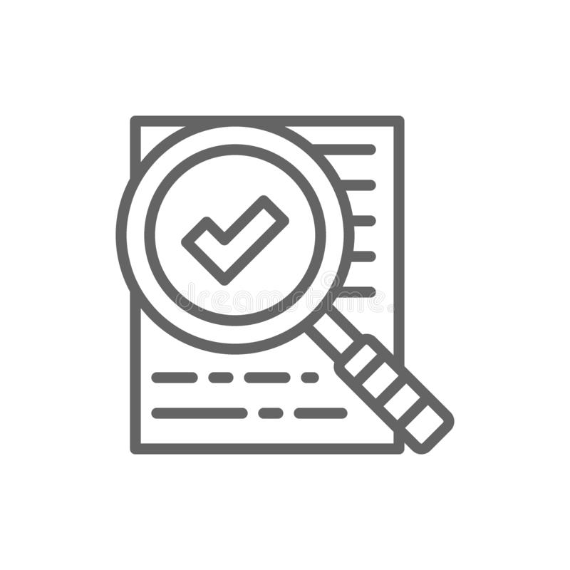 Magnify glass with contract, approved loan, checklist line icon. Vector magnify glass with contract, approved loan, document with check mark, checklist, consent vector illustration