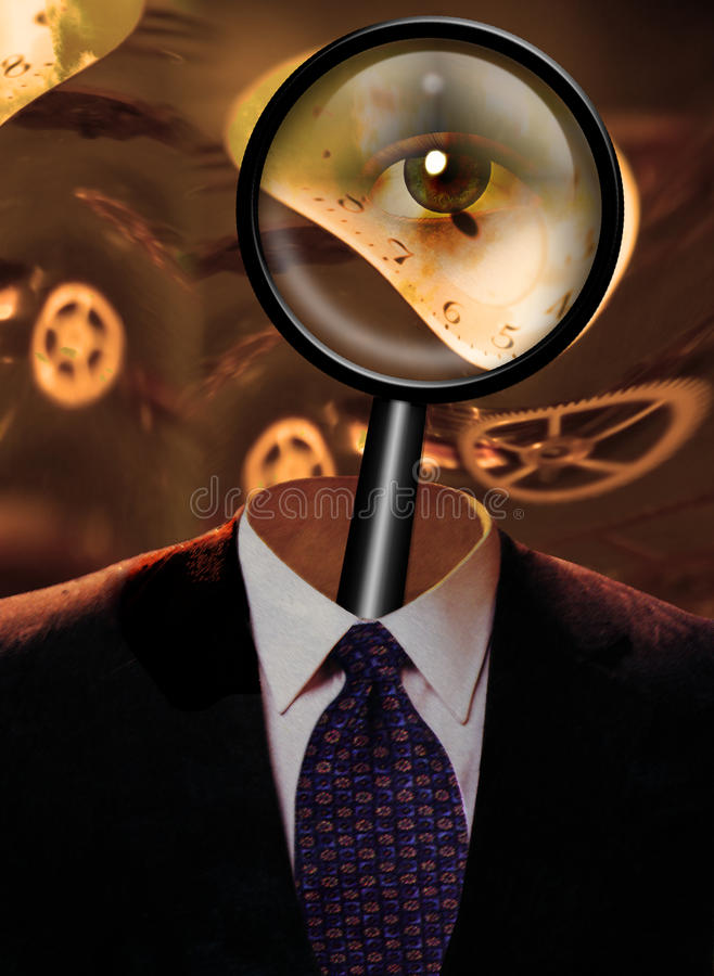 Magnify Glass with eye. And clock workings royalty free stock photos