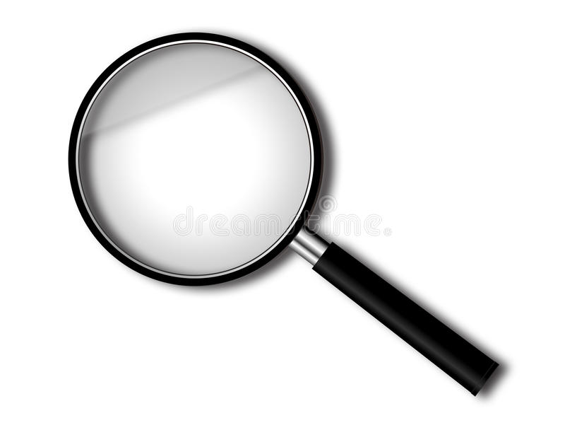 Magnify glass. Isolated on white blackboard royalty free illustration