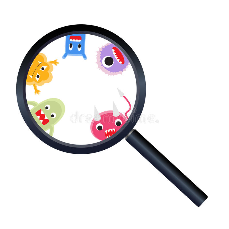 Magnify glass with virus cartoon royalty free illustration