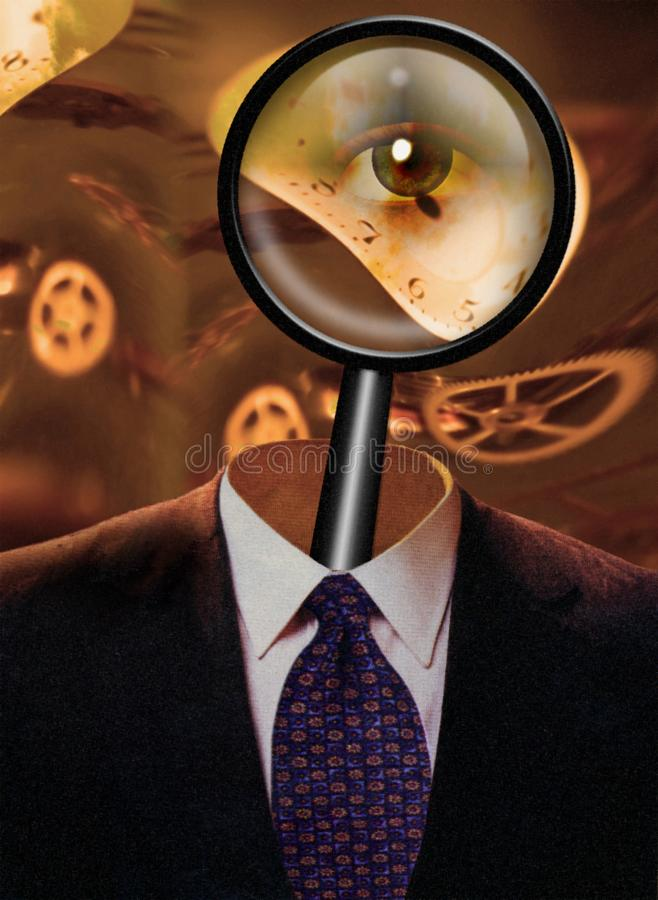 Magnify Mind. Magnify glass in man`s suit. Human elements were created with 3D software and are not from any actual human likenesses royalty free stock photography