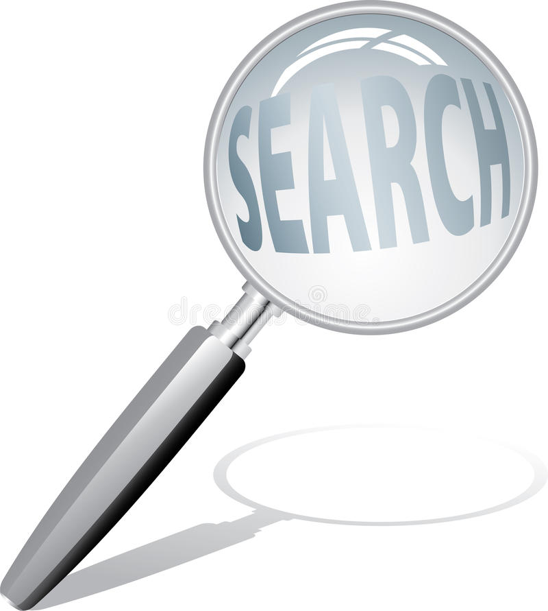 Magnify search. Vector magnify glass with text stock illustration