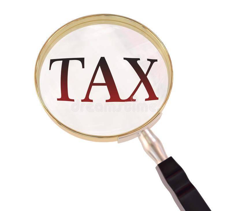 Magnify tax. By 3d rendered magnifying glass , isolated on white background stock illustration