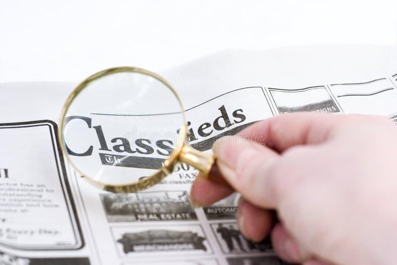 magnifyed的classifieds 免版税库存照片