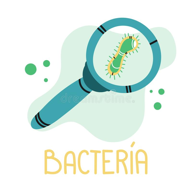 Magnifying bacteria for medical design. Hand drawn isolated on white background royalty free illustration