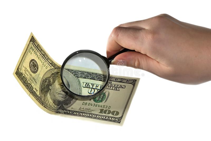Magnifying and dollar royalty free stock images