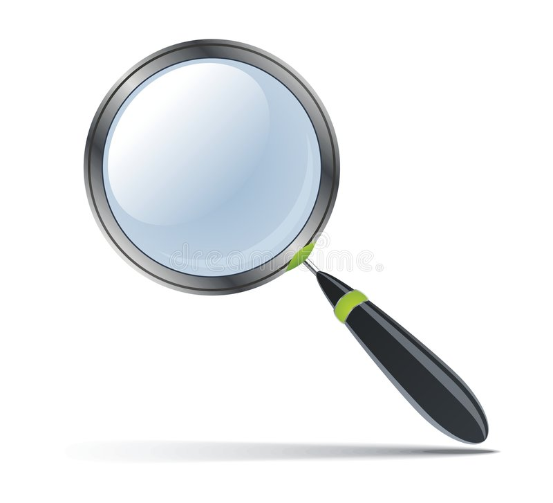 Magnifying glass. Icon of vector magnifying glass on white stock illustration