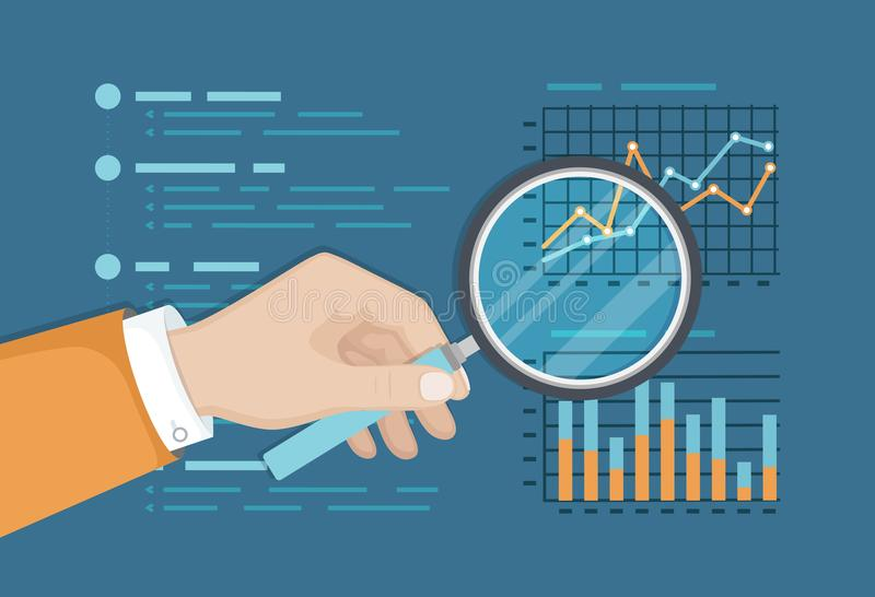 Magnifying glass above finance graphs, paper document, business report. Analysis chart. Hand with magnifier. Vector background royalty free illustration
