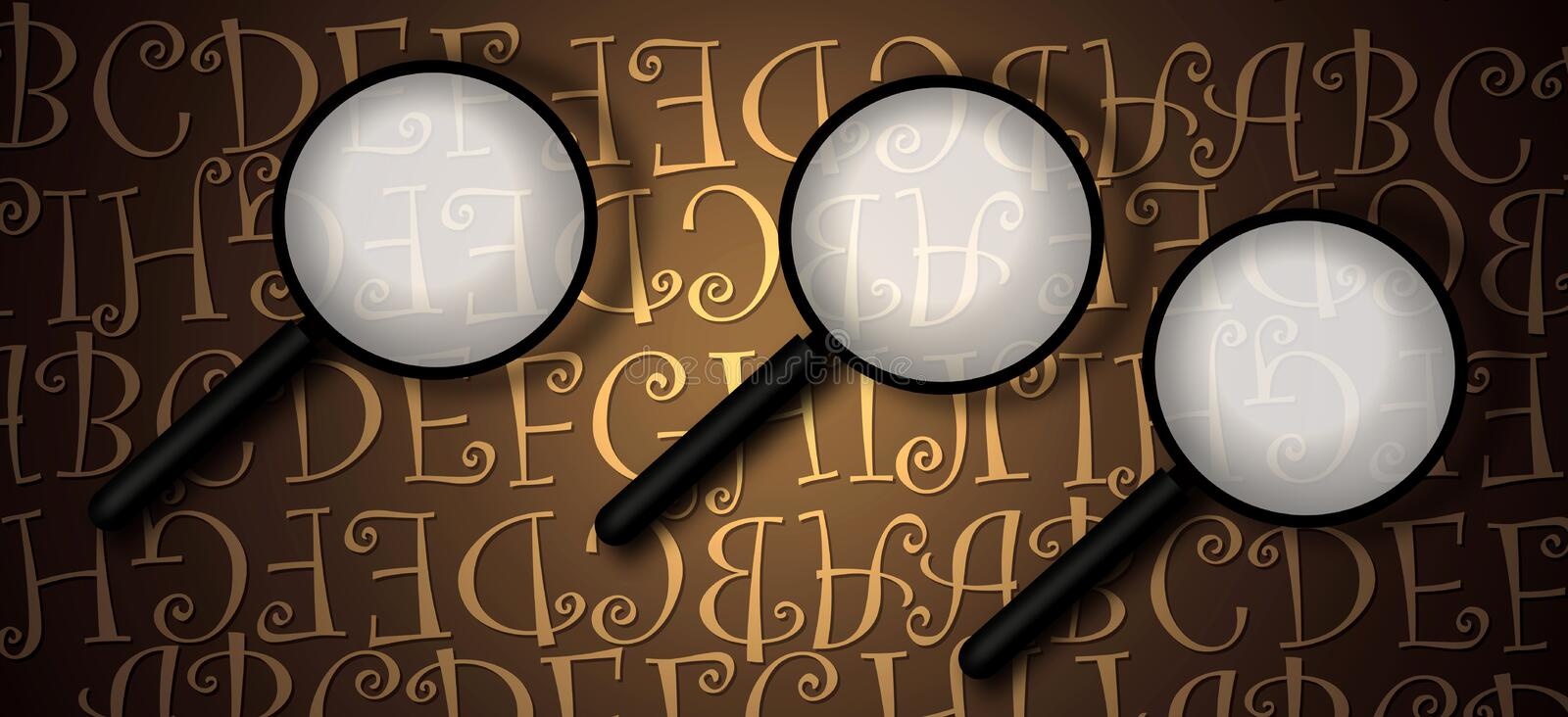 Magnifying Glass With Abstract Text Stock Photos