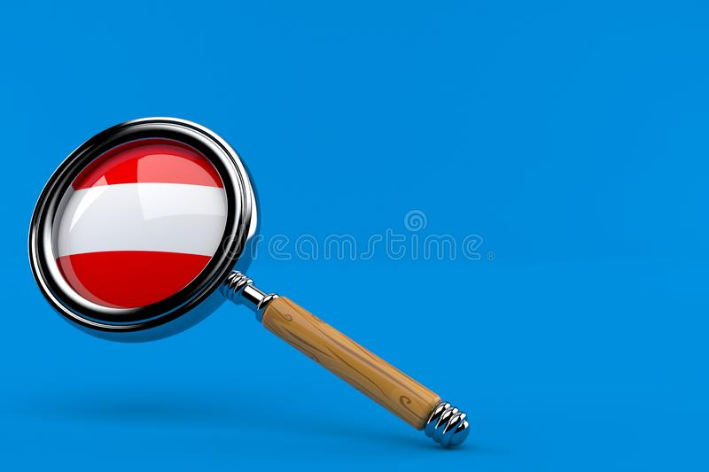 Magnifying glass with austrian flag. Isolated on blue background. 3d illustration vector illustration