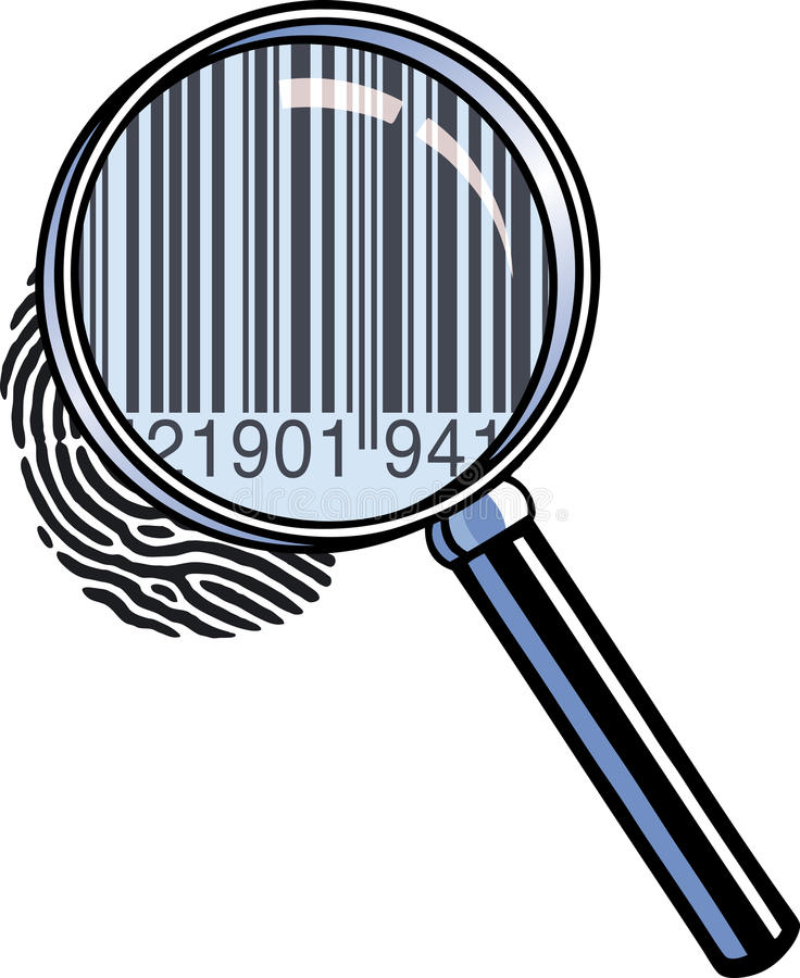 Magnifying glass barcode vector illustration