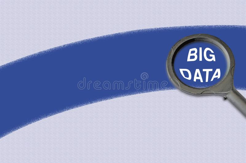 Magnifying Glass with Big Data text over swoosh or stroke. Image of a magnifying glass hovering over the words Big Data, in the magnifier. A blue stroke stock photography