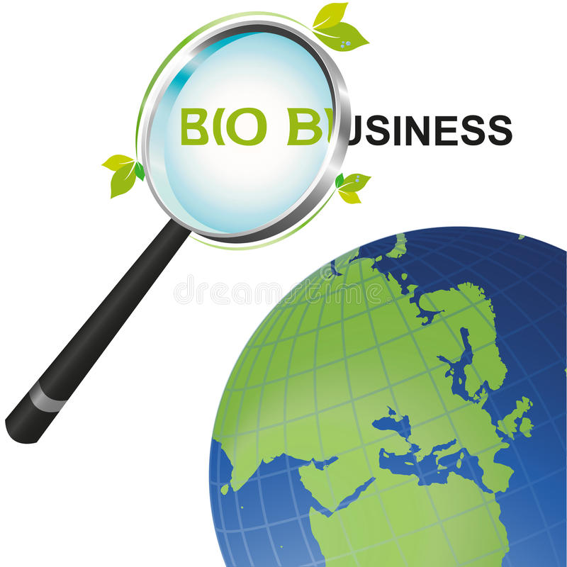 Magnifying glass Bio Business looking at the world. Magnifying glass looking at the Bio Business angle on a global perspective royalty free illustration