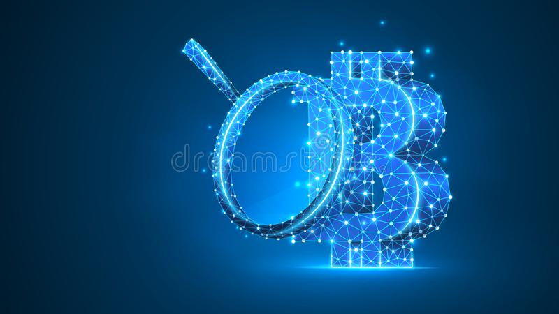Magnifying glass on Bitcoin cryptocurrency. Market analysis, business safety, money research concept. Abstract, digital. Wireframe low poly mesh vector blue stock illustration