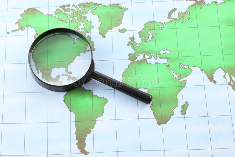 Magnifying glass black frame on world map stock photo image of download magnifying glass black frame on world map stock photo image of journey geography gumiabroncs Gallery