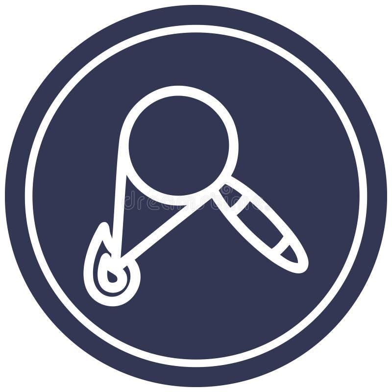 Magnifying glass burning circular icon. A creative illustrated magnifying glass burning circular icon image vector illustration