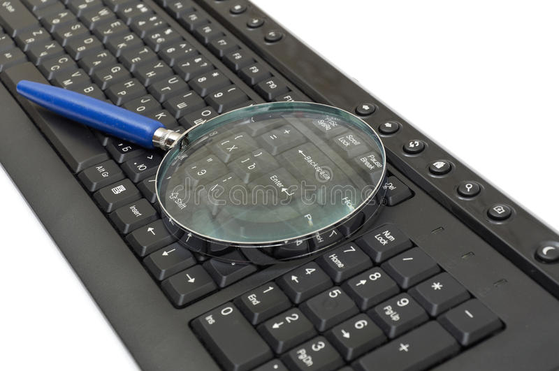 Magnifying glass, button, key. Isolated on white royalty free stock photos