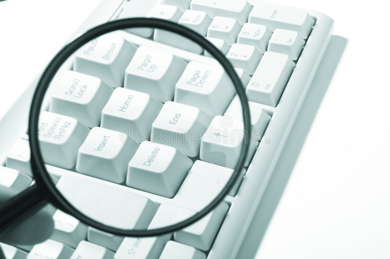 Magnifying glass, button, key. Business diagram stock photo