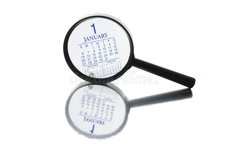 Magnifying Glass and Calendar stock images