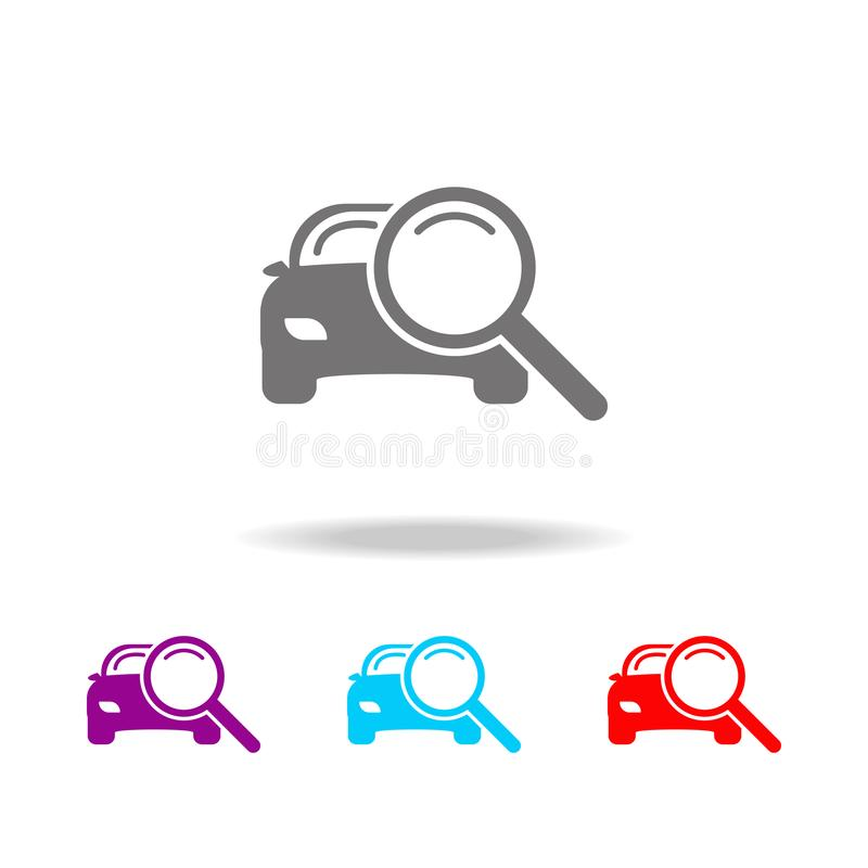 Magnifying glass with a car icon. Elements of car repair multi colored icons. Premium quality graphic design icon. Simple icon for. Websites, web design, mobile stock illustration
