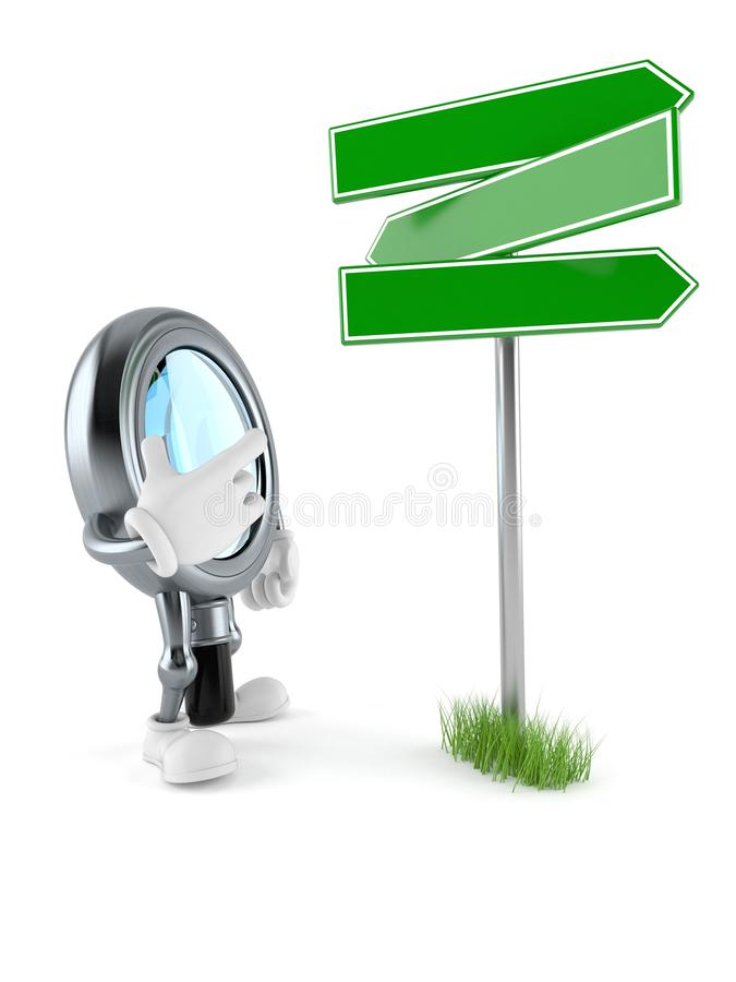 Magnifying glass character with blank signpost. Isolated on white background. 3d illustration stock illustration