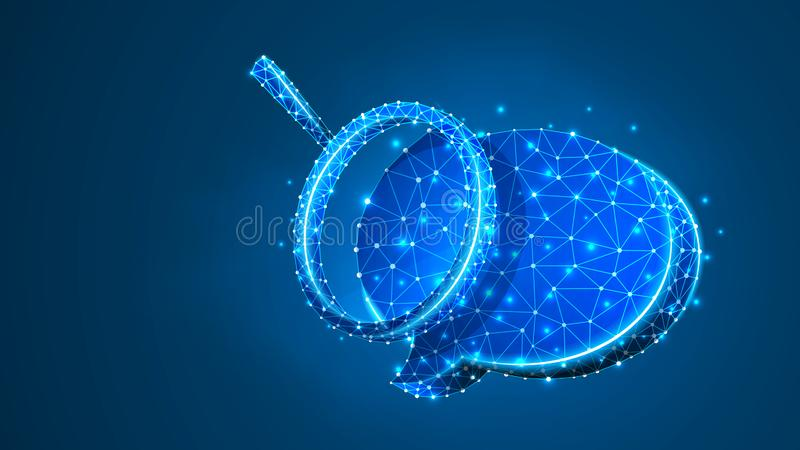 Magnifying glass on Chat bubble. Communication analysis, Dialogue cloud concept. Abstract, digital, wireframe, low poly mesh, stock illustration