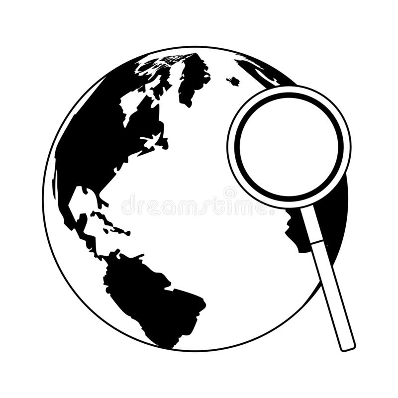 Magnifying glass checking world in black and white. Magnifying glass checking world vector illustration graphic design vector illustration