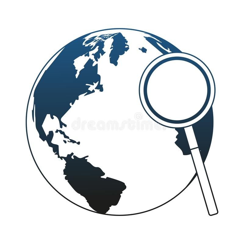 Magnifying glass checking world blue lines. Magnifying glass checking world vector illustration graphic design royalty free illustration