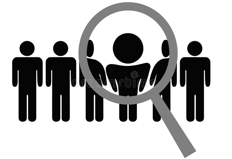 Download Magnifying Glass Chooses Inspects Row Of People Stock Vector - Illustration of decision, line: 5676812