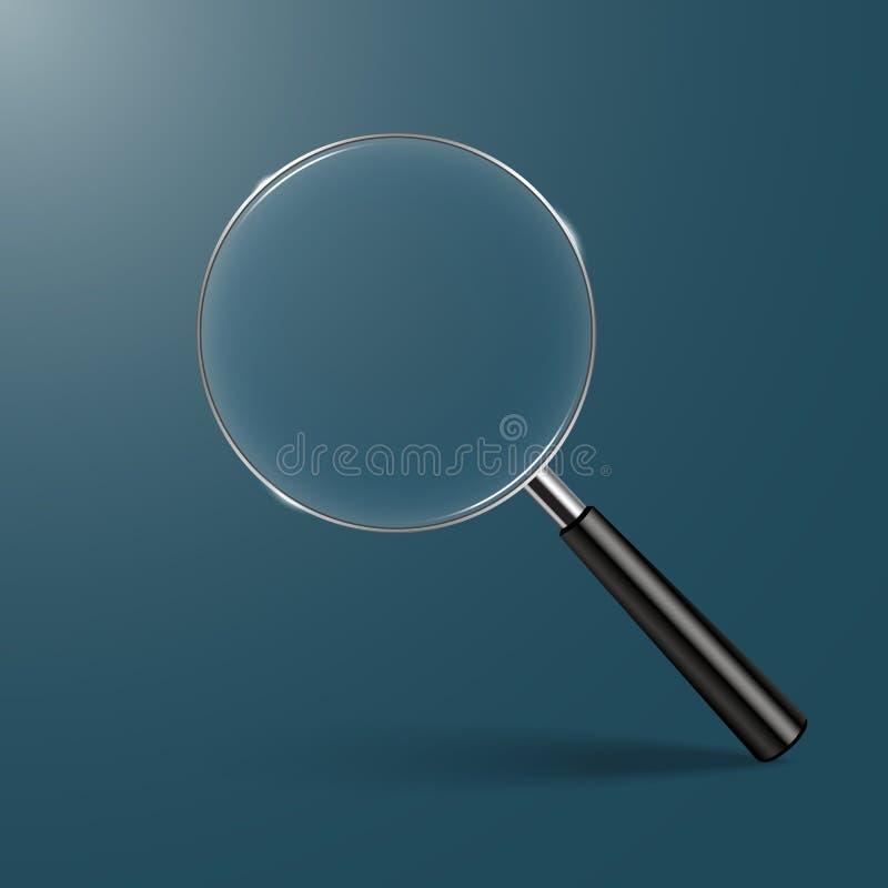 Magnifying glass on Dark green Background vector. Illustration stock illustration