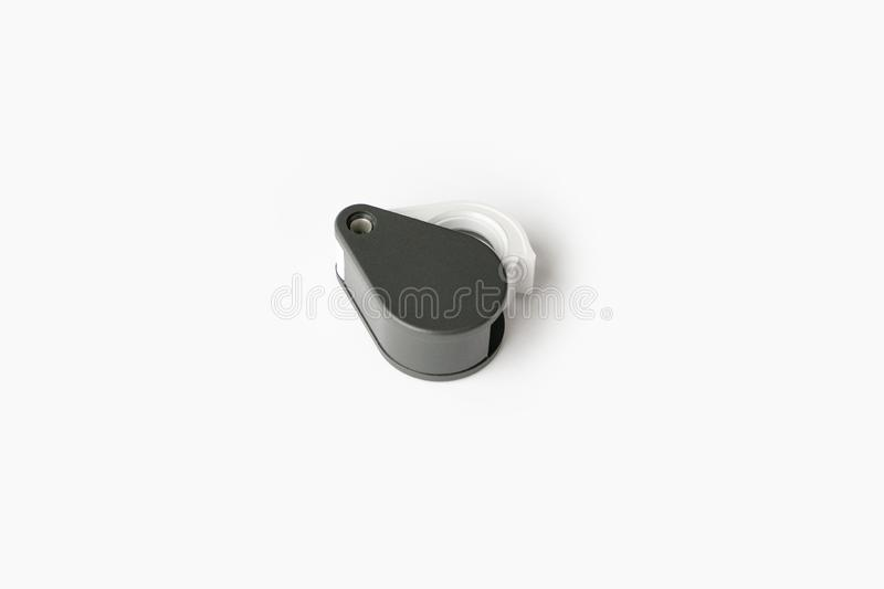 Magnifying glass for diamonds or see the amulet Isolated on a White Background. Eye Lens Magnifier royalty free stock photography