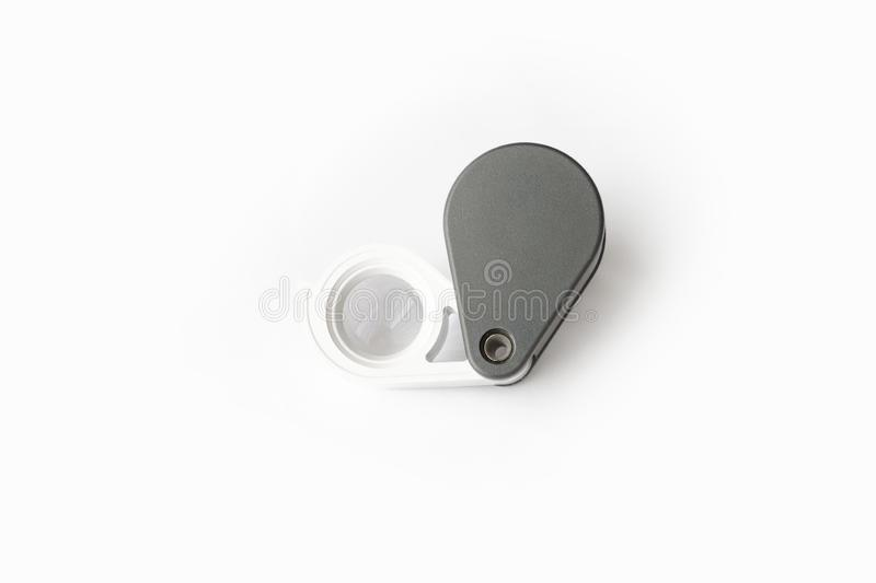 Magnifying glass for diamonds or see the amulet Isolated on a White Background. Eye Lens Magnifier royalty free stock images