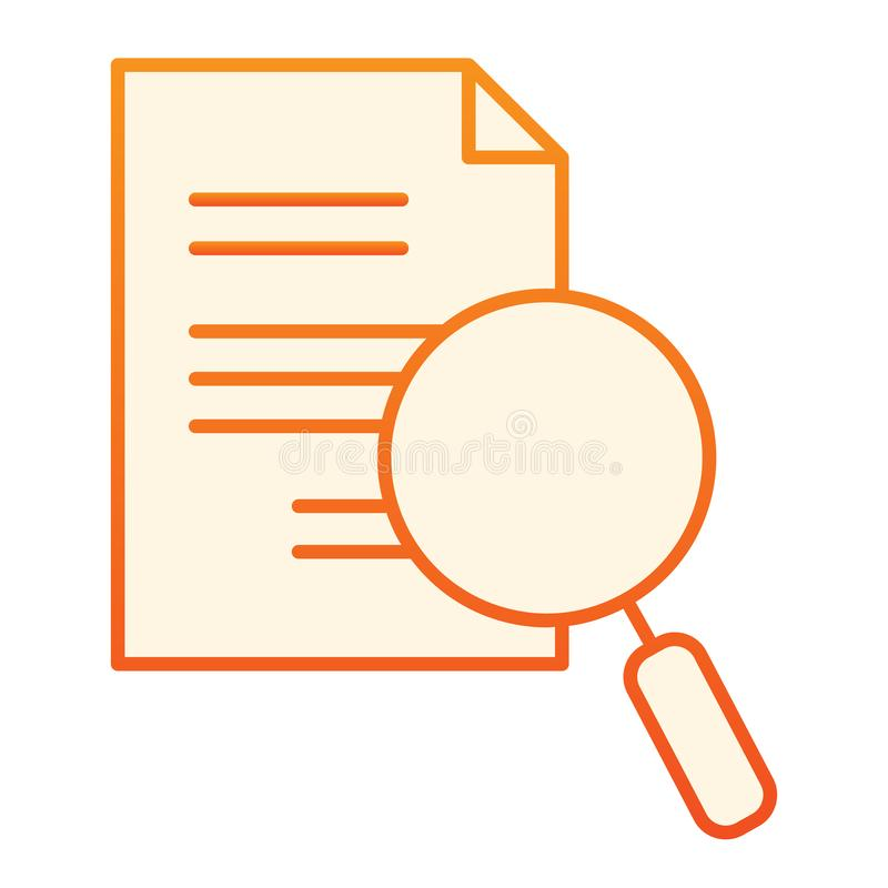 Magnifying glass and document flat icon. Search paper orange icons in trendy flat style. Lens and list gradient style royalty free illustration