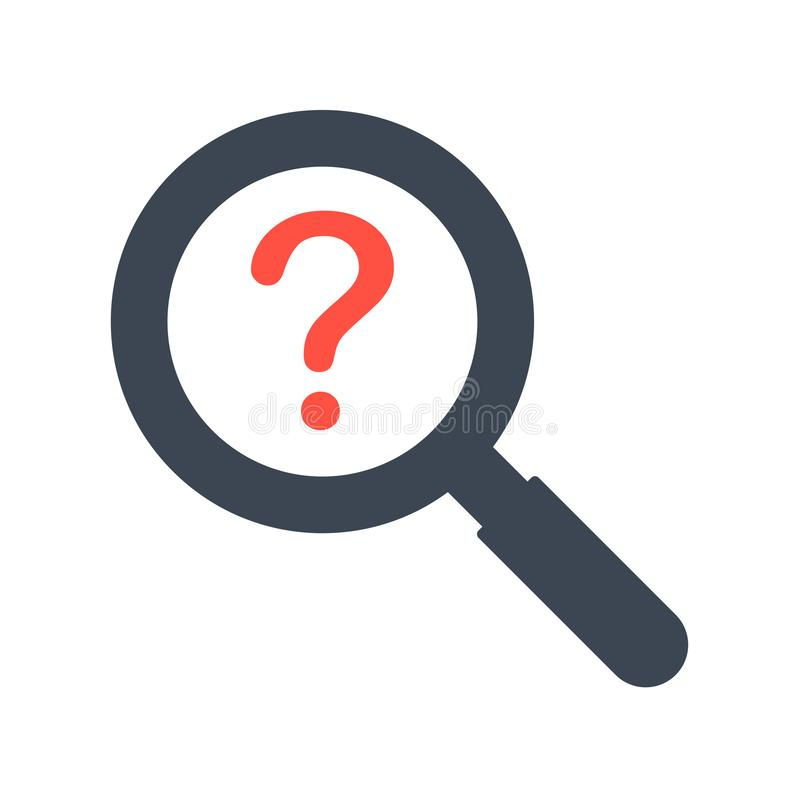Magnifying glass and question mark sign icon royalty free illustration