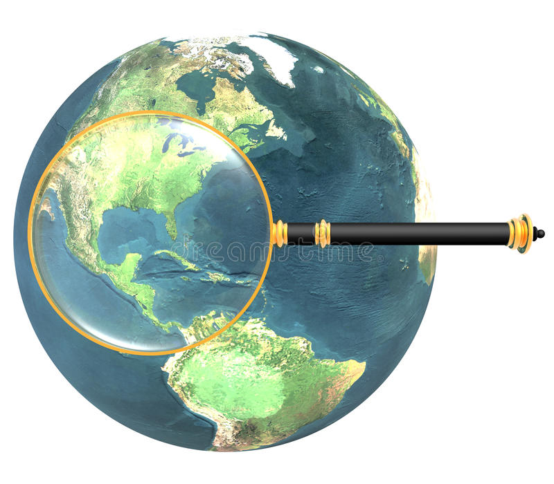Magnifying glass on earth isolated stock illustration