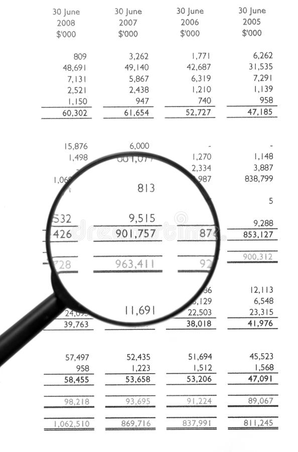 Magnifying Glass On Financial Balance Sheet royalty free stock image