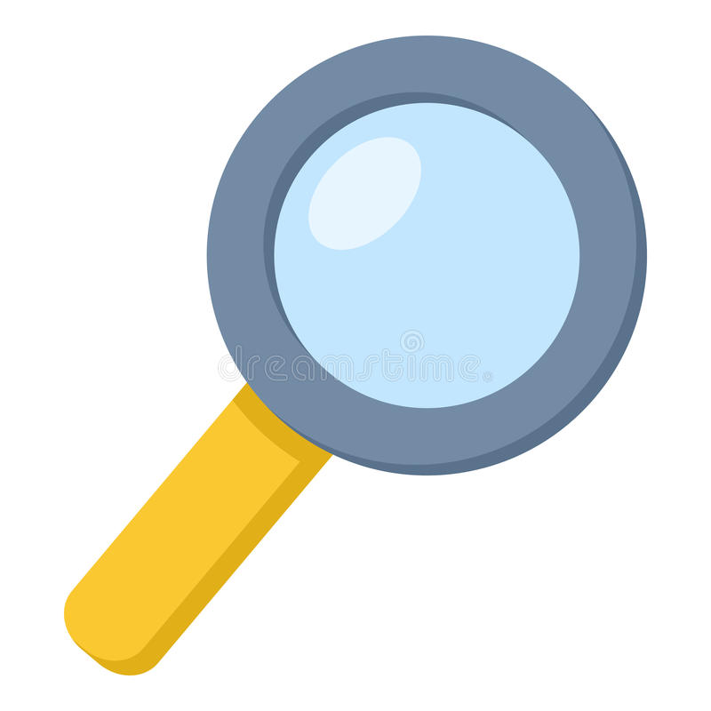 Magnifying Glass Flat Icon Isolated on White. Colorful magnifying glass flat icon, isolated on white background. Eps file available vector illustration
