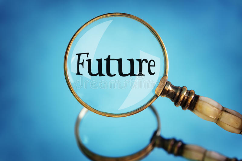 Magnifying glass focus on the word future royalty free stock photo
