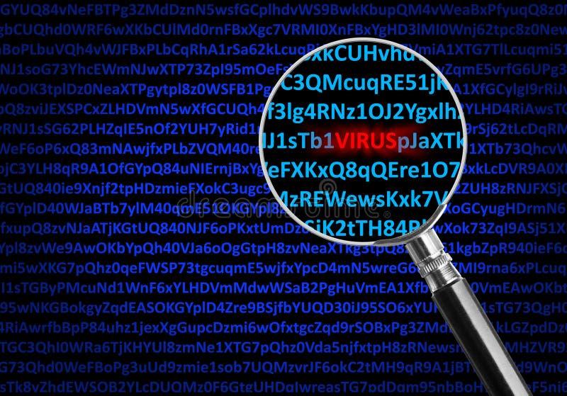 Magnifying glass focused on virus stock illustration