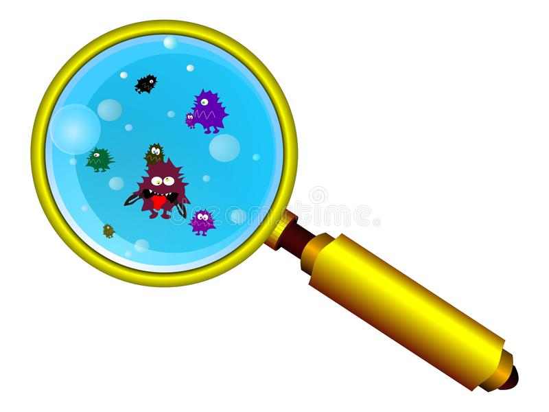 Download Magnifying Glass And Funny Germs Stock Vector - Image: 14901788